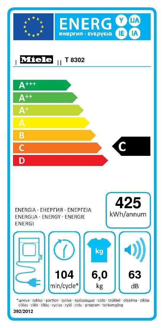 Miele aftræk tørretumbler T 8302 energilabel