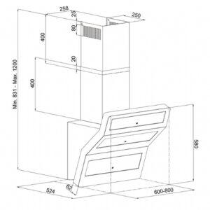 Silverline emhætte SM3432-80SR Beta 90 stål (demo/nyt produkt)
